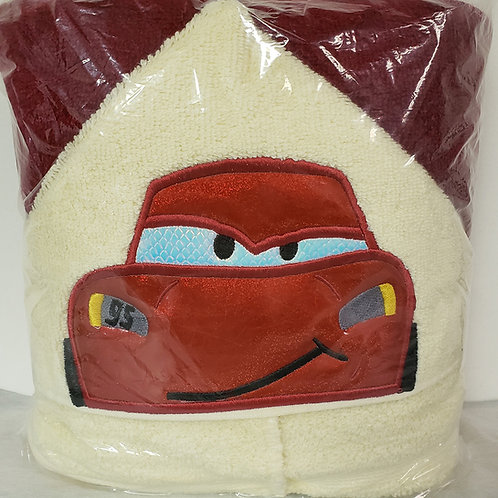 Red Stock Car Hooded Bath Towel