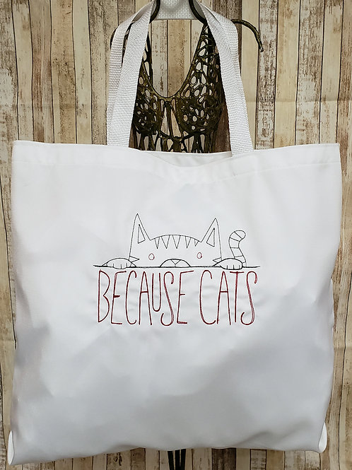 Because Cats Embroidered Tote