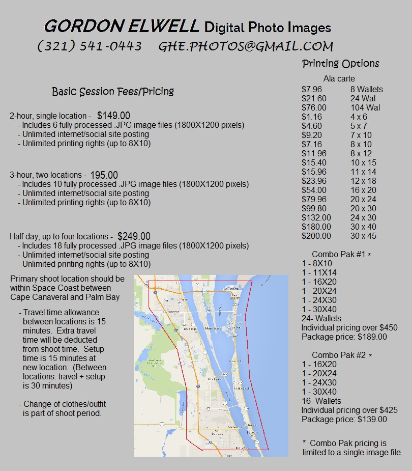 Photo Session Price List
