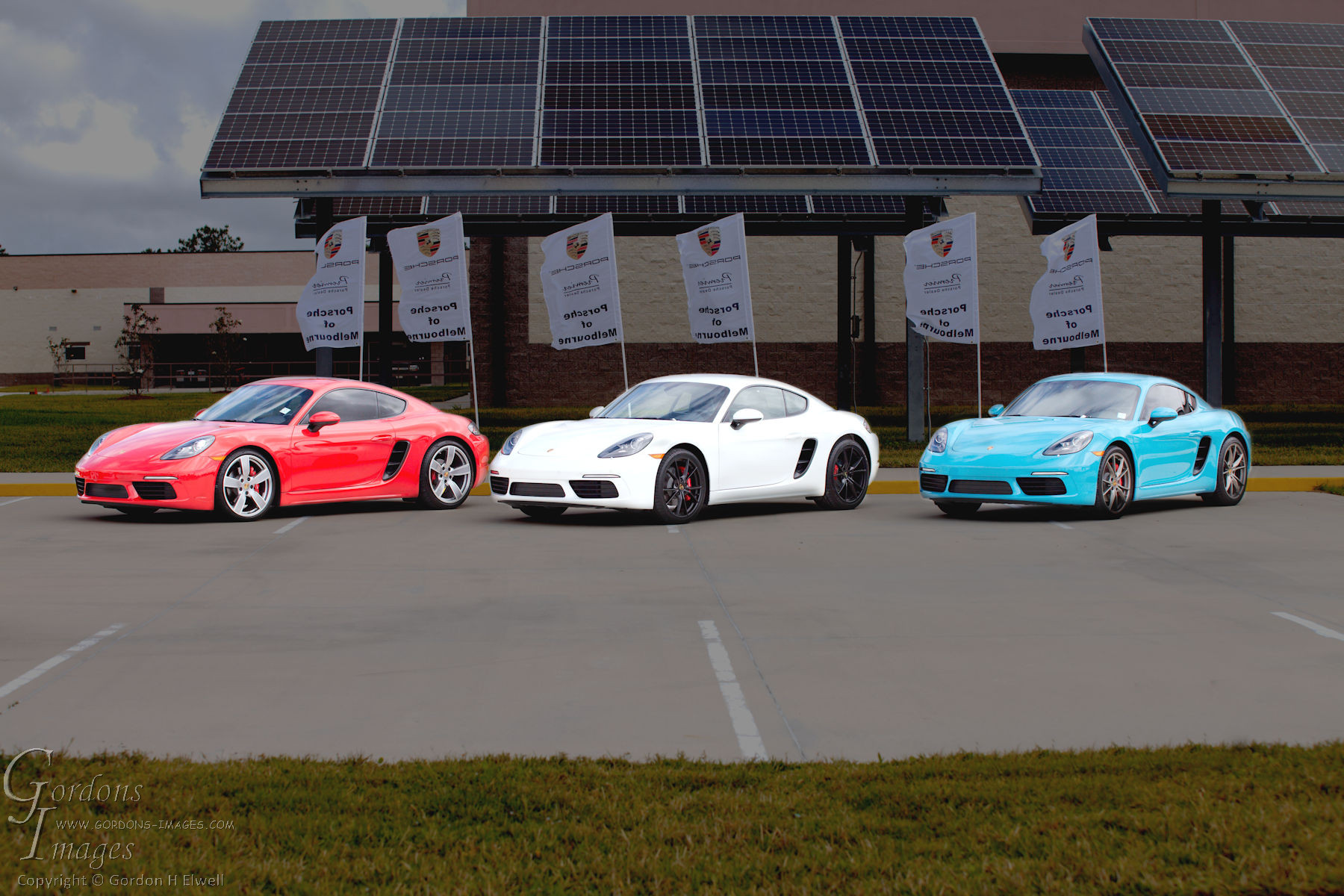 Red, White and Blue Porsches
