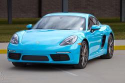 Blue Porsche at Rally