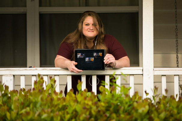 """""""Katie Talbert produces a live stream broadcast from her front porch through DTSP Live: Saved By Streaming - a platform designed for local artists to share their music during Covid-19 quarantine."""" - Katie Talbert of DTSP Live - Photo by Sandrasonik"""
