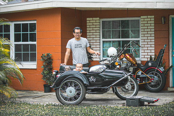 """Tai and Alastair with their vintage BMW w/ sidecar. """"The quarantine has given me more time to share my passions with the kids."""" - Tai Swank of Ronin Vintage - Photo by Sandrasonik"""