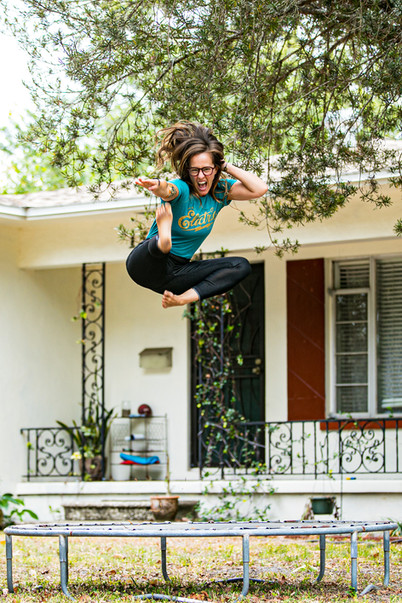 """""""Sandra said, """"Wanna jump on the trampoline?"""" I mean, of course I do! So I'm jumping and she asked if I could do any tricks.I didn't really think so but turns out I'm tricky."""" - Katelyn Grady from The Body Electric Yoga and Athletic Co. - Photo by Sandrasonik"""