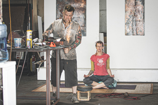 """Haiku """"sharing space is new but also not new to us we adapt with love"""" - Bethany Peabody, Yoga Instructor & Frank Strunk III - Artist - Photo by Sandrasonik"""