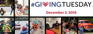 Photo collage of people engaged in TDN activities with the giving tuesday logo and December 3, 2019