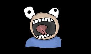 Cartoon character waving arms and yelling