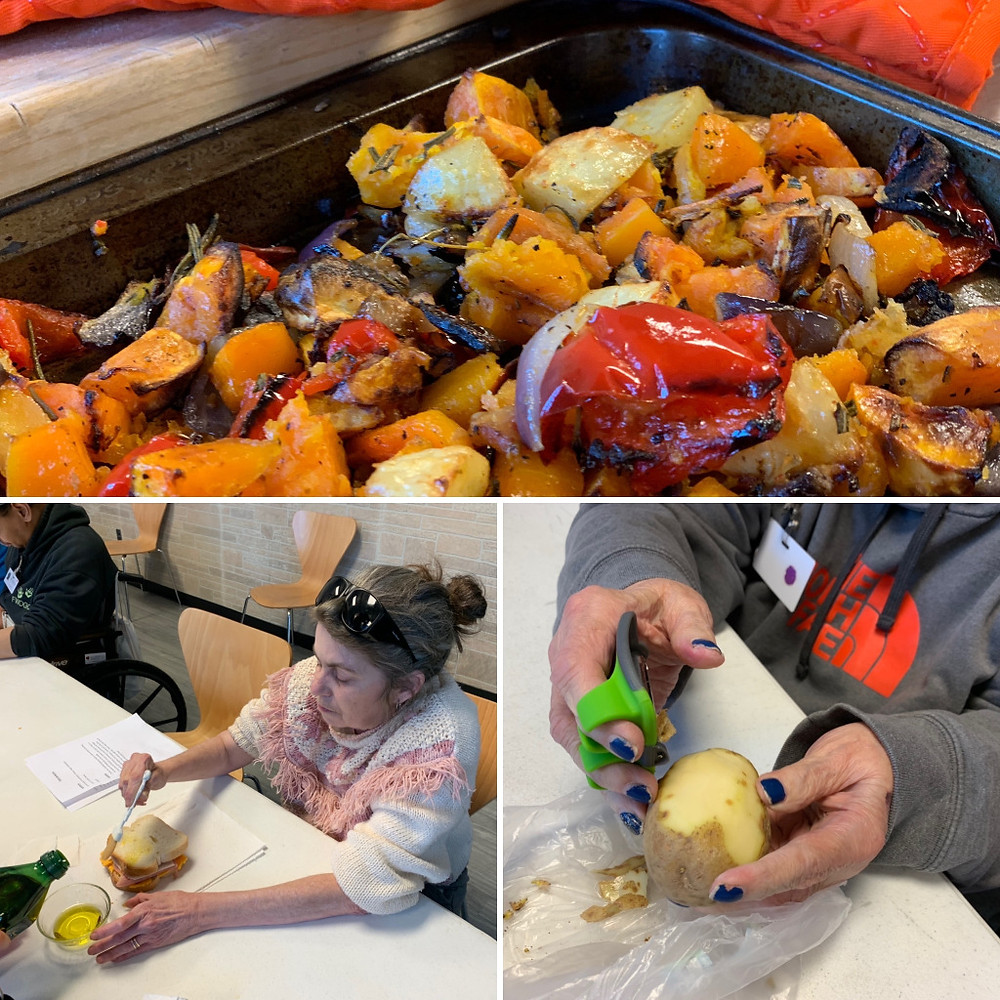 Photo collage of roasted vegetables and two people preparing food.