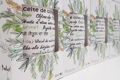 Lote 4 Botellas porcelánicas de 500ml Aceite de Oliva Virgen Extra Ecológico
