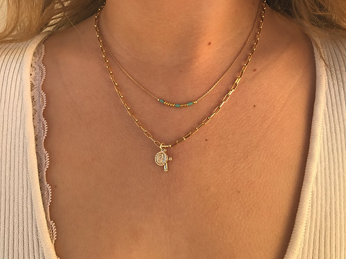 ❀ Tiny Religious Medal + Gold Filled Cross Link Chain Necklace