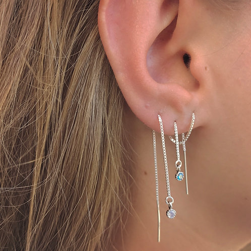 ♕ Threader Earring w/ CZ diamond - Sterling Silver