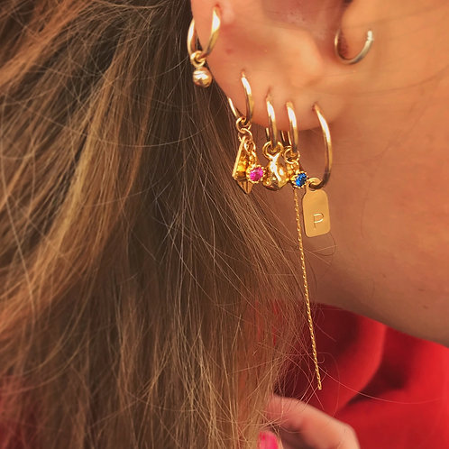 ♕ Tag Hoop Earring - Personalized - 14K Gold filled