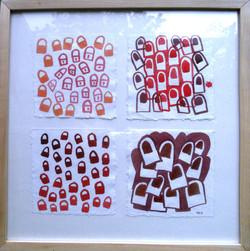 'Locks' 2013, Acrylic on paper, each piece 15cm x 15cm. Exhibited in Nairobi, 2013.JPG