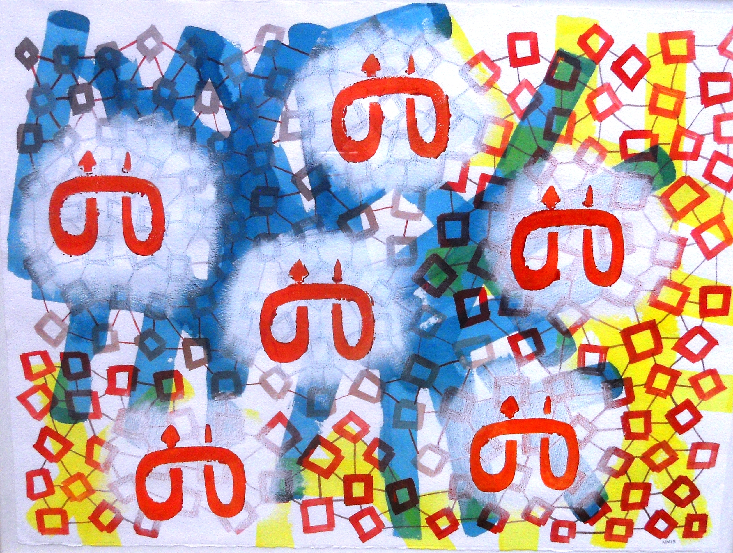 'Six Nairobi Serpents' 2013, Acrylic on paper 76cm x 57cm. Exhibited in Nairobi, 2013.jpg
