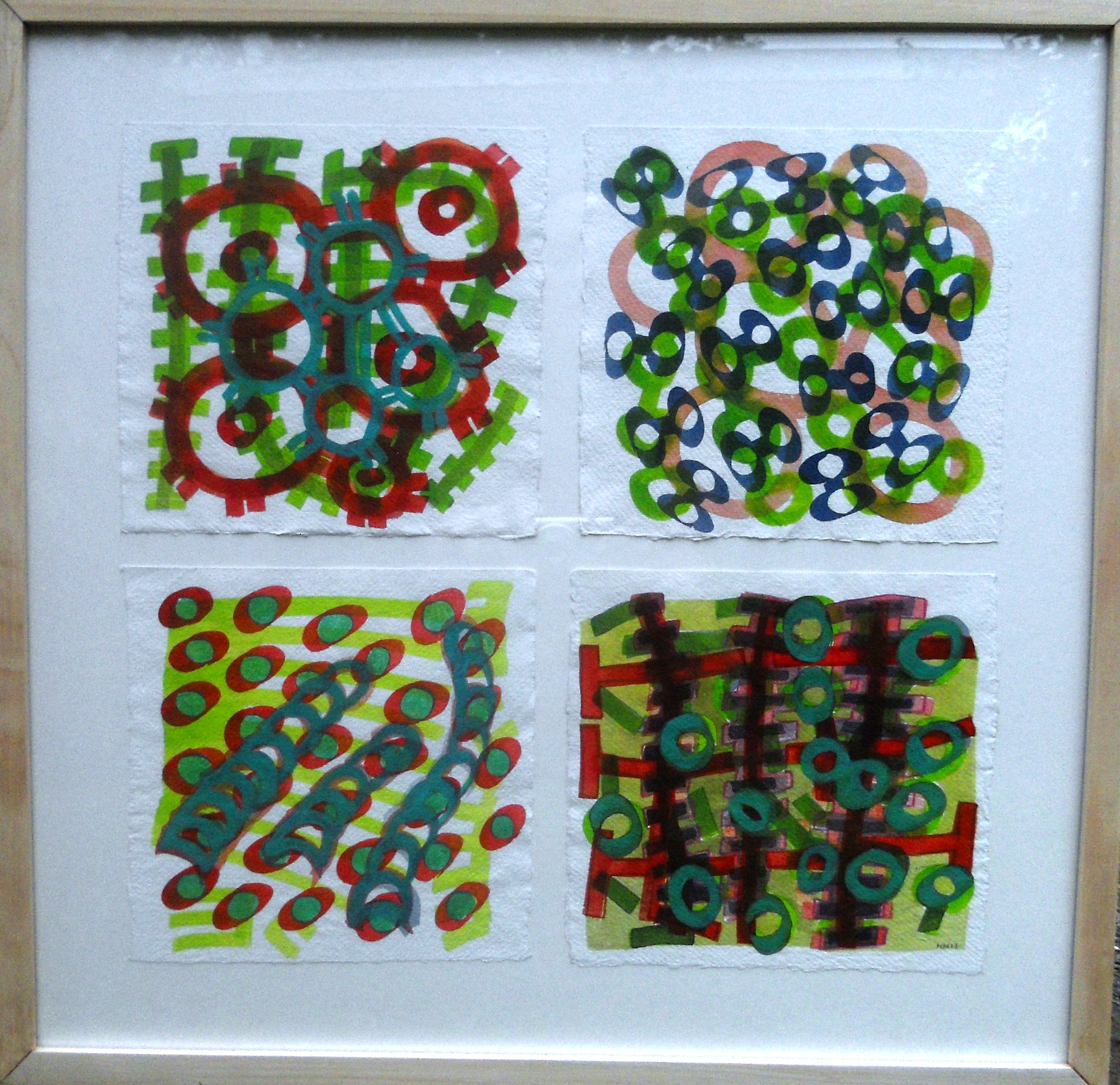 'Red green layers' 2013, Acrylic on paper, each piece  20cm x 20cm. Exhibited in Nairobi, 2013.JPG