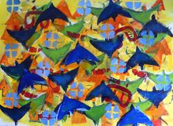 'Masaai Birds' 2013, Acrylic on paper 76cm x 57cm. Exhibited in Nairobi, 2013.jpg