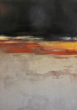 shifting horizons 1 Jan 2017 ash, iron oxide, charcoal on canvas 120x160cm