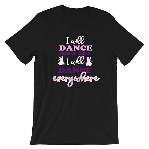 I will Dance Everywhere Pink-Purple Dance Shirt, Casual Tops, Plus Shirt