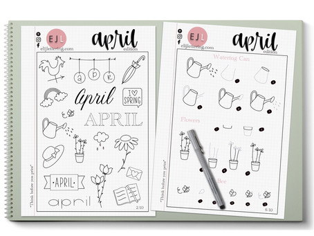 APRIL - FREE PRACTICE SHEETS - Doodles, Lettering and Calligraphy