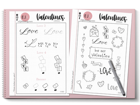 VALENTINE'S DAY - FREE PRACTICE SHEETS - Doodles, Lettering and Calligraphy