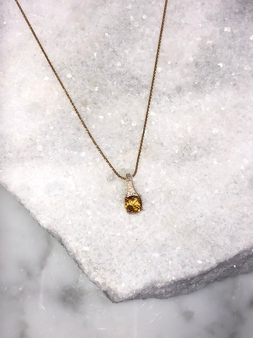 14KY 5mm Citrine and .06ctw Diamond  Necklace