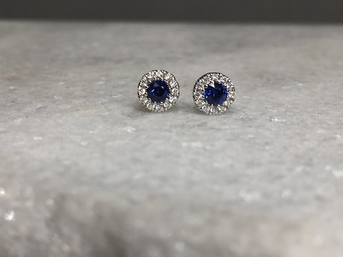 14k White Gold Sapphire and Diamond Halo Earrings