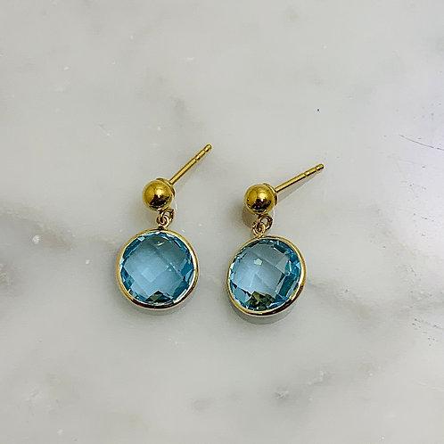 14KY Blue Topaz Earrings