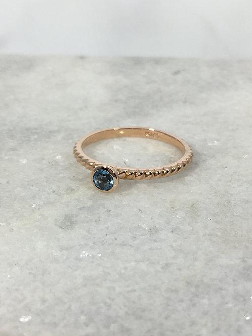 14k Rose Gold Blue Topaz Rope Ring