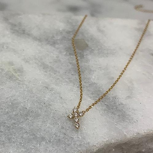 14KY Diamond Cross Necklace