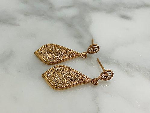 14KR Diamond-Cut Filagree Drop Earrings