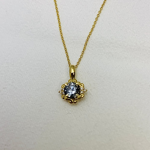 14KY Gray Spinel and Diamond Necklace