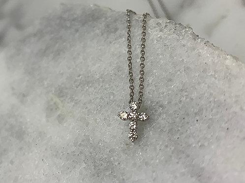 14KW Diamond Cross Necklace
