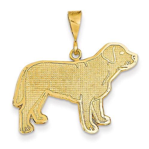 14k Yellow Gold Standing Labrador Pendant