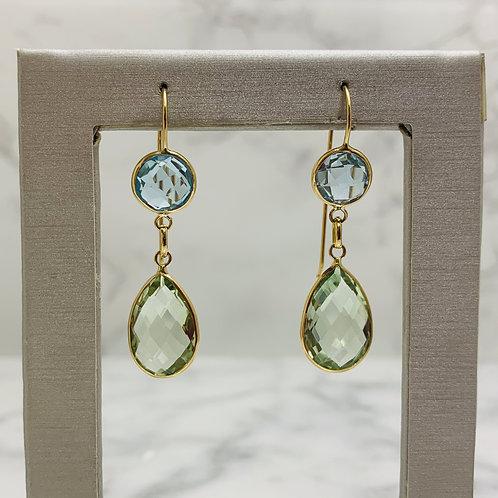 14KY Green Amethyst and Blue Topaz Earrings