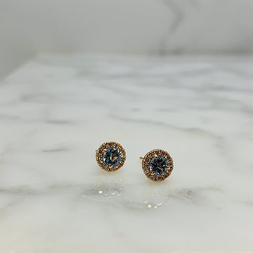 14K Rose Gold Aquamarine and Diamond Halo Earrings