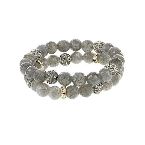 LABRADORite and Crystal Bracelet