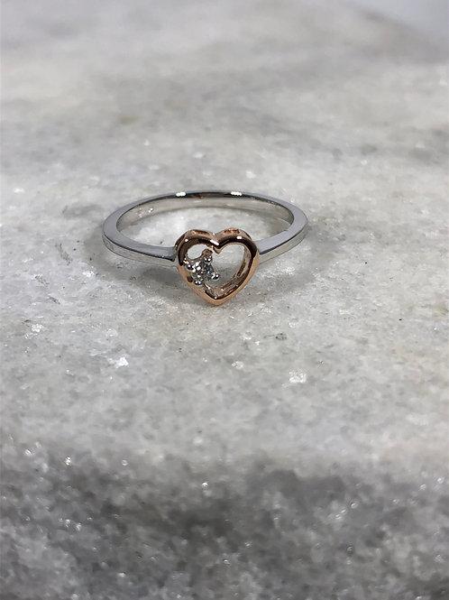 14K White and Rose Gold Diamond Heart Ring