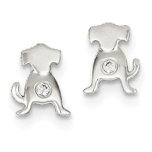 """Sterling Silver CZ """"Sit Pretty"""" Dog Earrings"""
