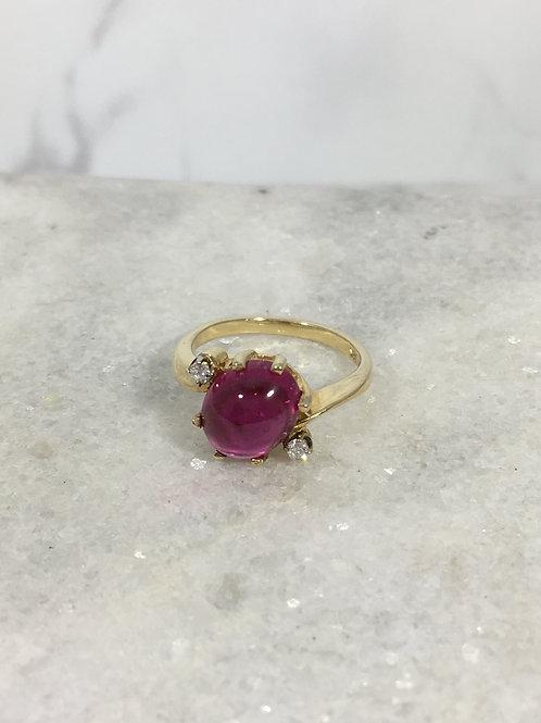 14KY Pink Tourmaline and Diamond Ring