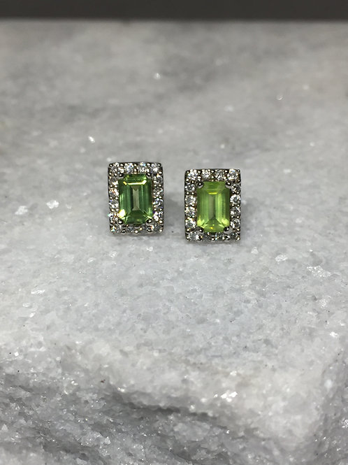 14k White Gold Peridot Halo Earrings
