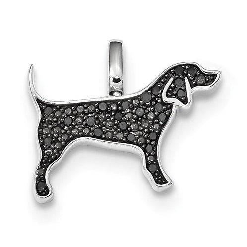 Sterling Silver Black and White Diamond Labrador Pendant