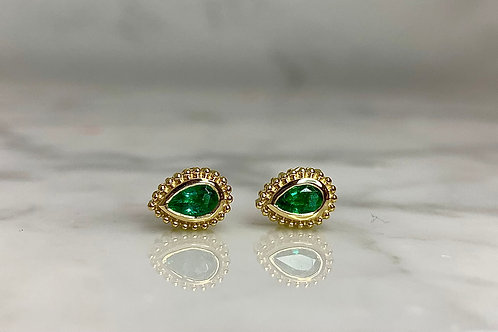 14KY Emerald Pear-Shaped Earrings