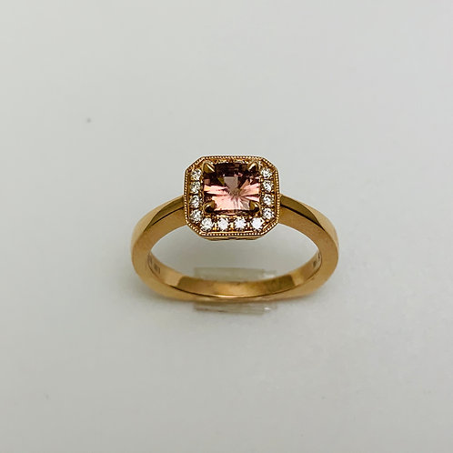14KR Spiced Zircon and Diamond Ring