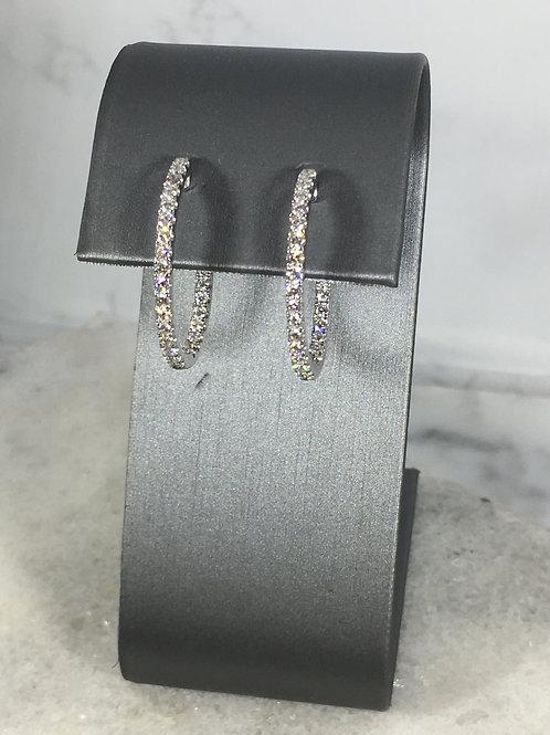 18k White Gold 1.28ct Diamond Hoop Earrings
