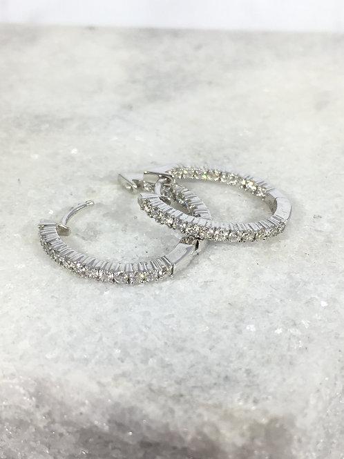 18k White Gold .81ct Diamond Hoop Earrings