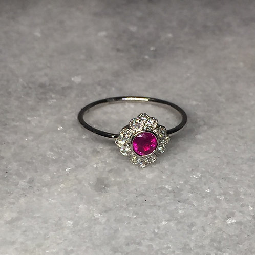 14k White Gold Ruby and Diamond Antique Style Ring