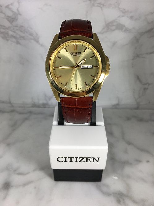 Men's Gold Citizen Quartz Leather Strap Watch