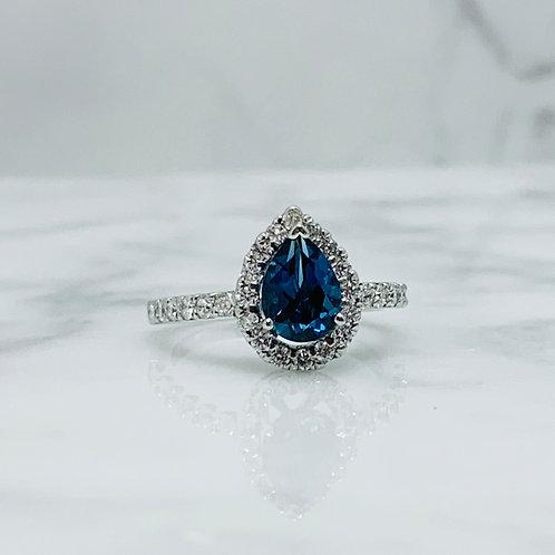 14KW Blue Topaz and .58ctw Diamond Ring