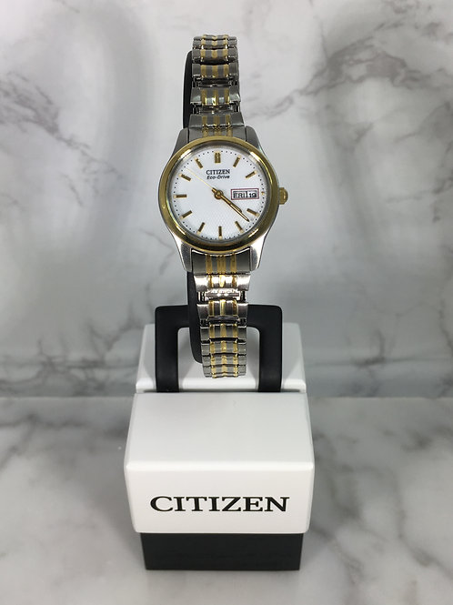 Ladies Silver and Gold Citizen Eco-Drive Flexible Watch