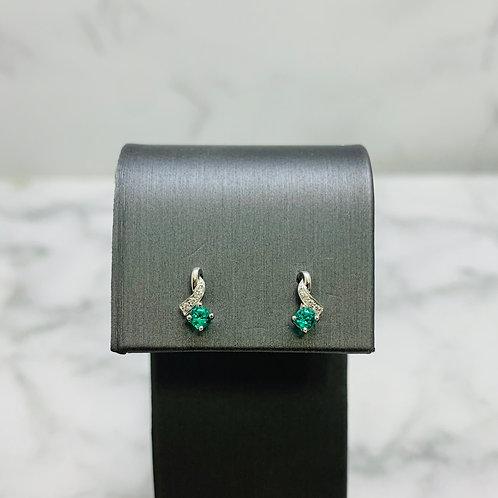 14KW 2.5mm Emerald and Diamond Twist Earrings